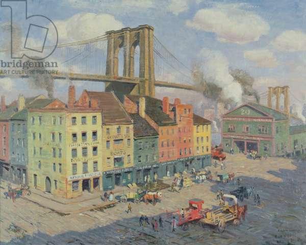 Peck Slip, New York City (oil on canvas)