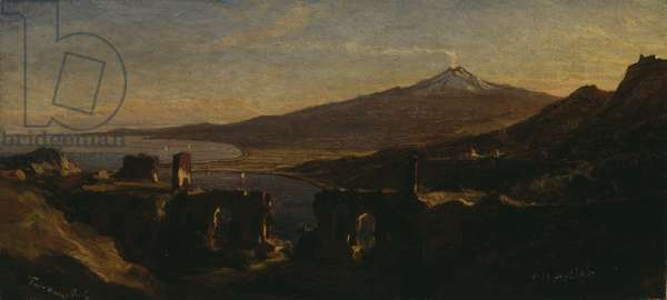 View from the Ruins of the Greek Theater at Taormina, Sicily, with Mount Etna (Smoking), 1868 (oil on paper, laid on Japanese paper, laid on wood)