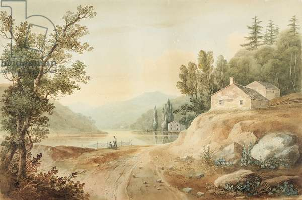 "View near Fishkill, New York: Preparatory Study for Plate 17 of ""The Hudson River PortFolio"", 1820 (Watercolor, graphite, selective glazing, and scratching out with touches of gouache on paper, laid on card.)"