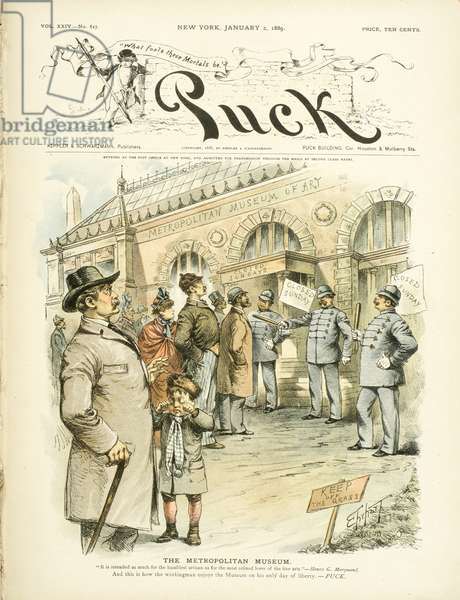 """The Metropolitan Museum of Art, """"...and this is how the workingman enjoys the museum..."""", 1889 (colour litho)"""