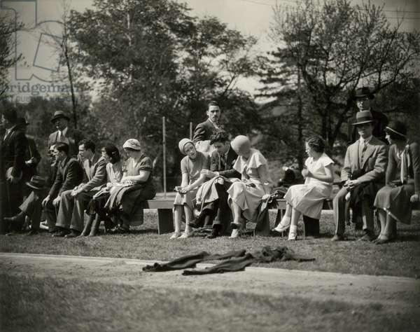 Baker Field, 533 West 218th Street, New York - Spectators watching track meet, Columbia University, New York, USA, c.1920-38 (gelatin silver photo)
