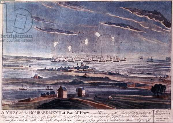 The British Attack of Fort McHenry, Baltimore in 1812 (engraving)