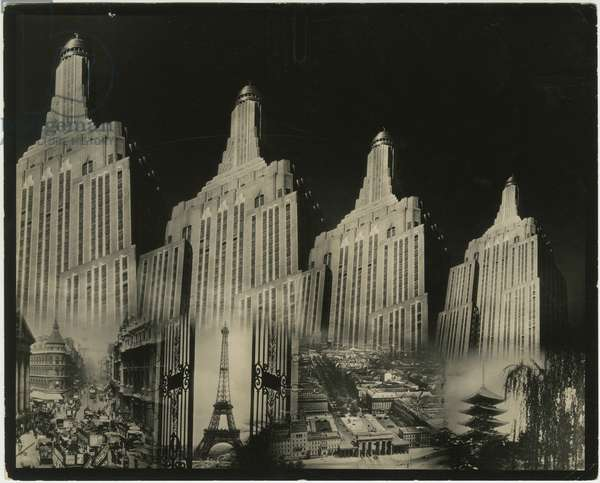 Photomontage of Empire State Building with insets of Eiffel Tower and Japanese pagoda, New York, USA, c.1920-38 (gelatin silver photo)