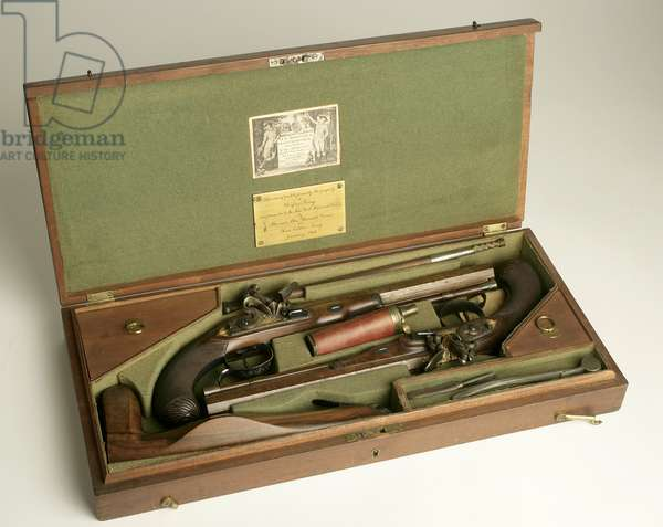 Pair of Flintlock Dueling Pistols with Case and Accessories, c.1780-1800 (mixed media)