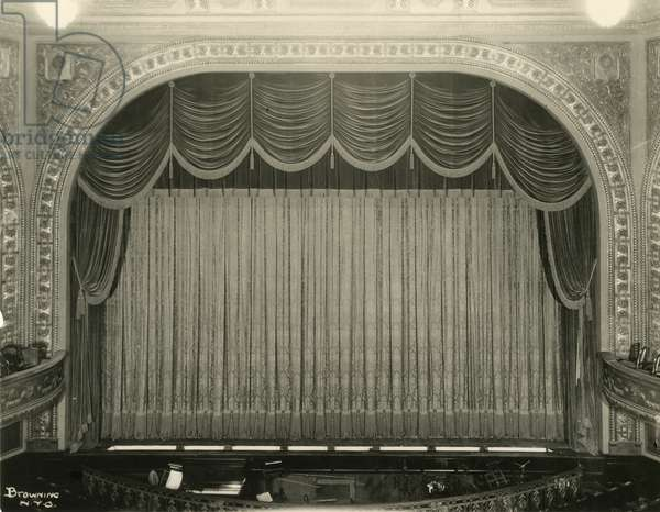 Forrest Theatre, 230 West 49th Street - stage, curtain, orchestra pit, New York, USA, c.1920-38 (gelatin silver photo)