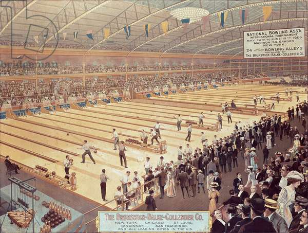 Poster advertising 'The Brunswick-Balke-Collender Co.', makers of bowling alleys, 1909 (colour litho)