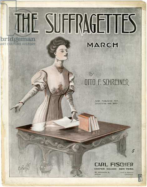 The Suffragettes March by Otto F. Schreiner [sheet music cover], 1910 (colour litho)