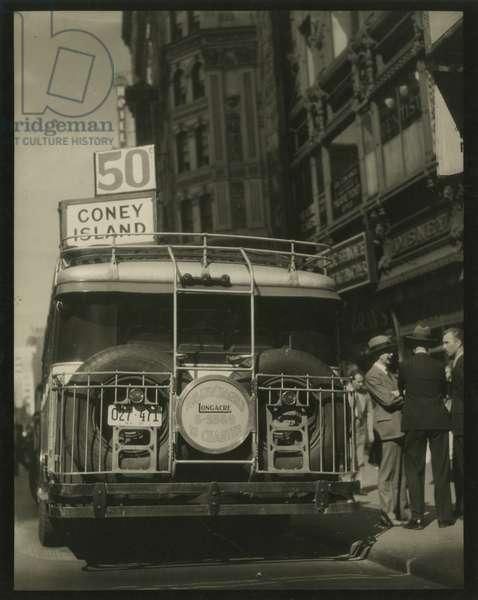 Coney Island Bus, 42nd Street and Broadway, New York, USA, c.1920-38 (gelatin silver photo)