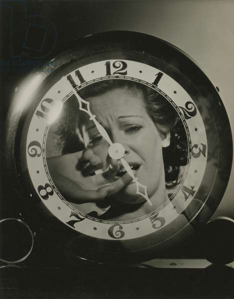 Photomontage with clock and distressed woman, USA, c.1920-38 (gelatin silver photo)