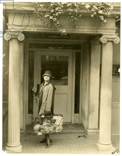 Mrs L C Harper (Mabel Herbert Urner) on her way to Europe to Collect Samples, New York, USA, c.1905-27 (gelatin silver photo)