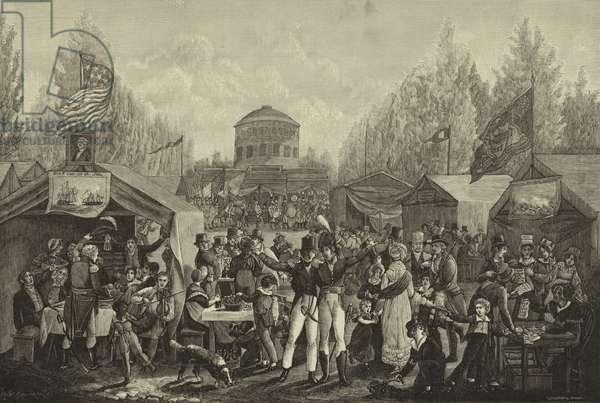 Fourth of July celebration in centre square, Philadelphia in 1819 (engraving)