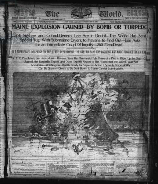 Maine Explosion, caused by a Bomb or Torpedo,  Front Page of 'The World' 17th February 1898 (litho)