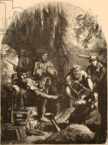 Captain Kidd burying his treasures, c.1872 (engraving)
