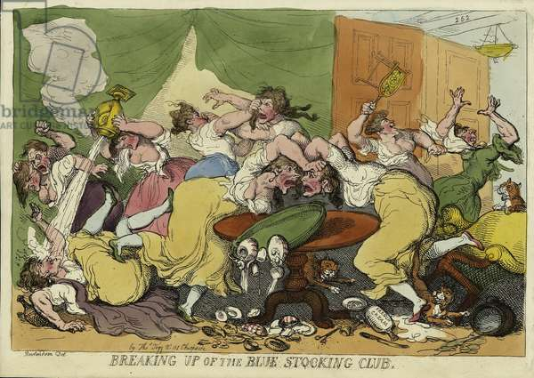 Breaking Up of the Blue Stocking Club, published in London, 1815 (hand-coloured engraving)