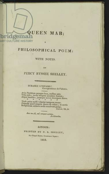 Title Page for 'Queen Mab', 1813 (litho)