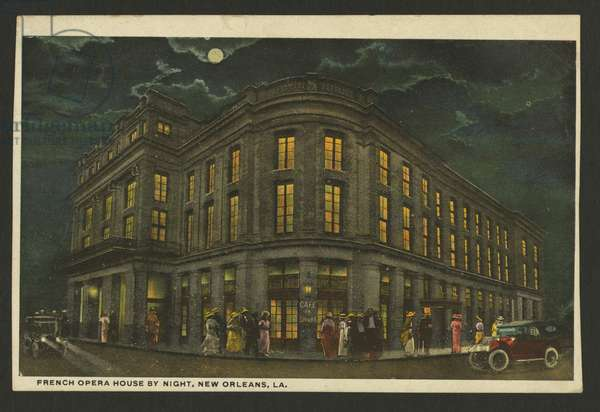 The French Opera House, New Orleans (colour litho)