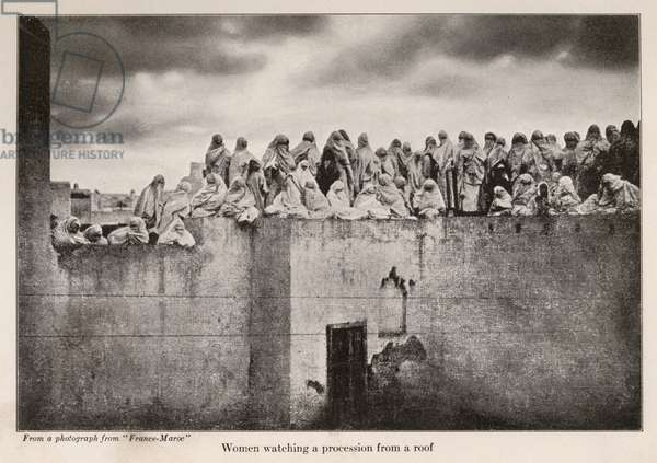 Women watching a procession from a roof, illustration from 'In Morocco' by Edith Wharton, 1920 (litho)