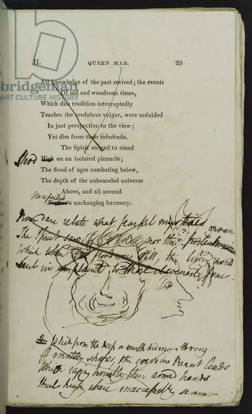 Holograph Revisions and drawings in the Pforzheimer copy of the 1813 edition of 'Queen Mab', 1813 (print & ink on paper)