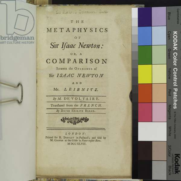 'The Metaphysics of Sir Isaac Newton...', by Voltaire (litho)