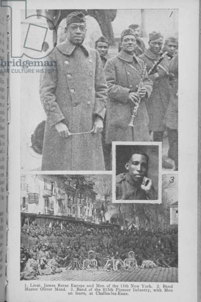 Lieutenant James Reese Europe and Band, illustration from 'Two colored women with the American Expeditionary Forces' by Addie W. Hunton and Kathryn M. Johnson, c.1920 (litho)