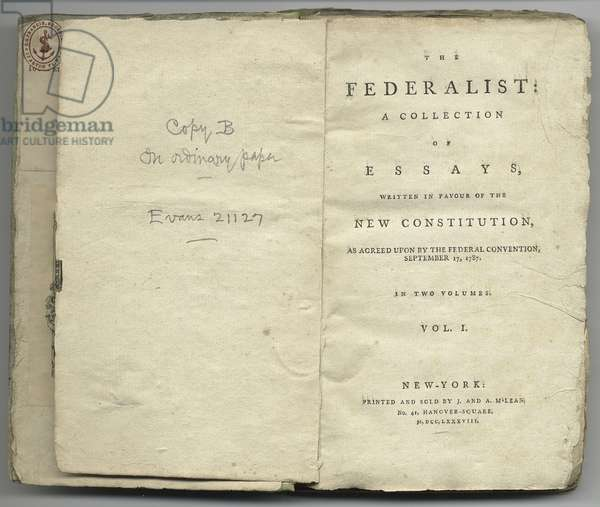 Title page of 'The Federalist', a collection of essays written in favour of the new constitution (litho)