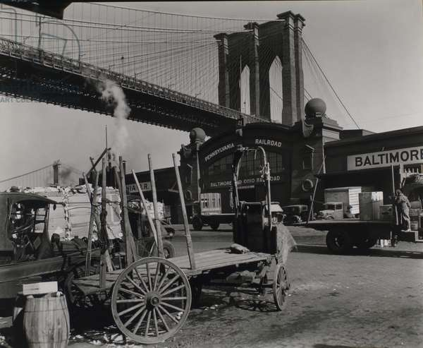 Brooklyn Bridge, Pier 21, Pennsylvania Railroad, Manhattan, 23rd March, 1937 (gelatin silver print)