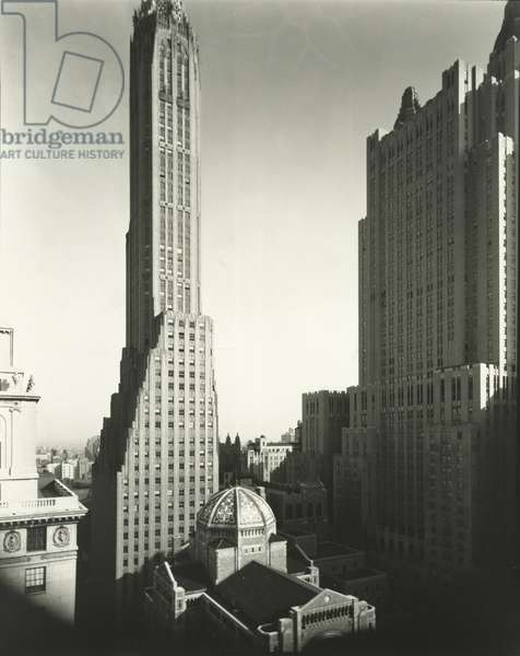St Bartholomew's, Waldorf Astoria and General Electric Building, Manhattan, 2nd April, 1936 (gelatin silver print)