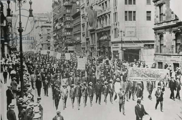 Silent protest parade on Fifth Avenue, New York City, 28 July 1917, in response to the East St. Louis race riot, 1917 (b/w photo)