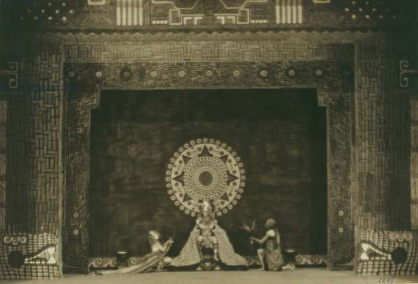 Martha Graham, Robert Gorham and Brayton Jensen in Xochitl, 1920 (b/w photo)