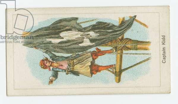 Cigarette card depicting 'Captain William Kidd', c.1930 (colour litho)