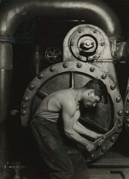 Mechanic and steam pipe, 1921 (silver gelatin print)