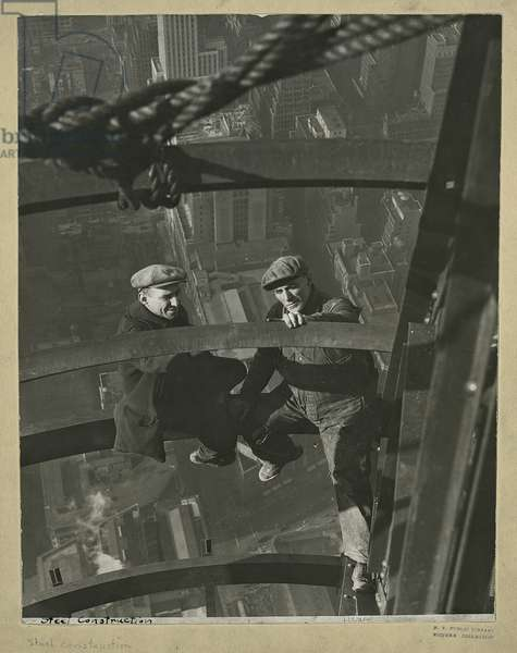Two workers inspecting a steel, Empire State Building, 1931 (gelatin silver print)