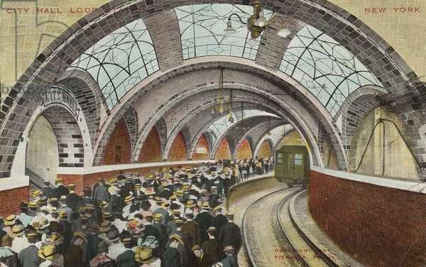 City Hall Loop Station, New York (colour litho)