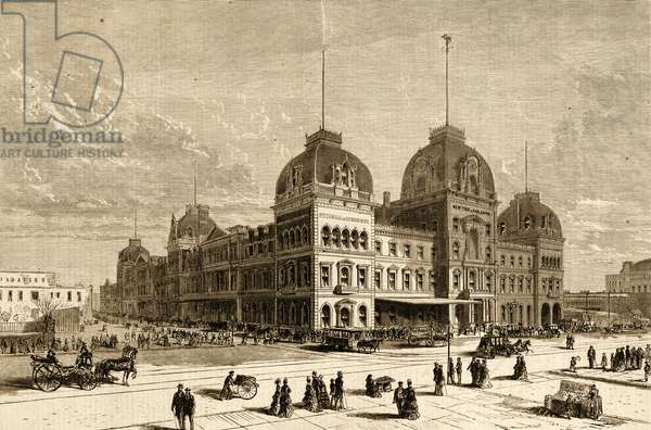 Exterior View of Grand Central Depot, New York, 1872 (litho)