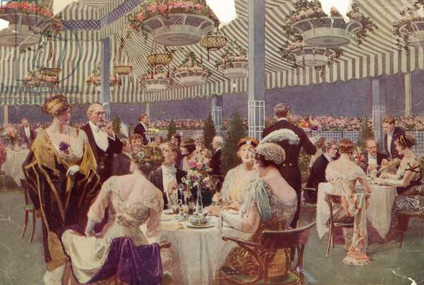 Dining in the Roof Garden Restaurant of the Ritz-Carlton Hotel, New York, 1918 (colour litho)