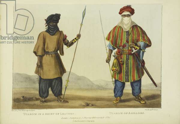 Tuarick in a Shirt of Leather, Tuarick of Aghades, engraved by M. Gauci, published in London, 1821 (colour litho)