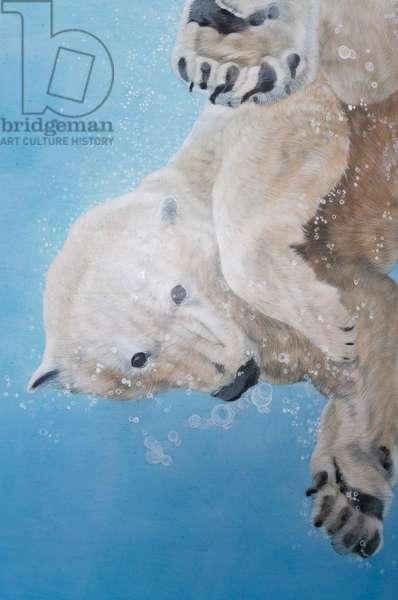 Polar bear ballet, detail, 2012 (acrylic on fibre glass sculptured egg)