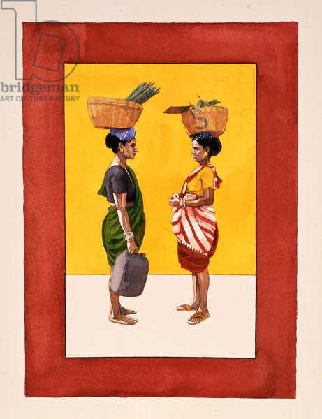 Goan Villagers, 1996 (w/c on paper)
