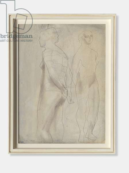 Two Figures (Blue Grey), 1951 (oil wash & pencil on card)