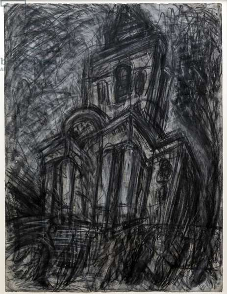 Christ Church, Spitalfields, 1985 (charcoal & pastel on paper)