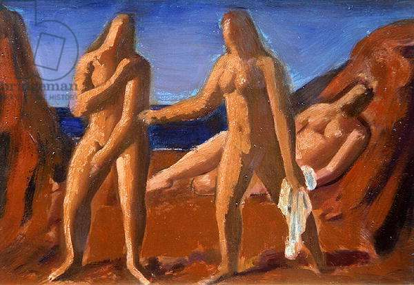 Group of Bathers (oil on board)
