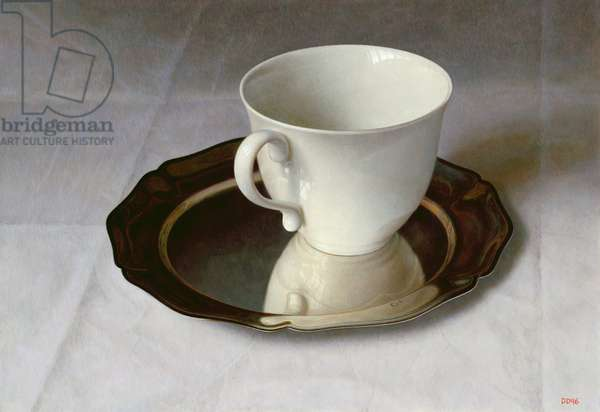 Still Life with Cup and Silver Plate, 1996 (oil on linen laid down on board)