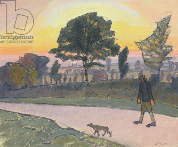 Sunset, Letchworth, with Man and Dog, 1912 (oil on canvas)