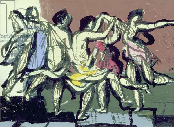 Variation Poussin Dancers, 1952 (oil on board)