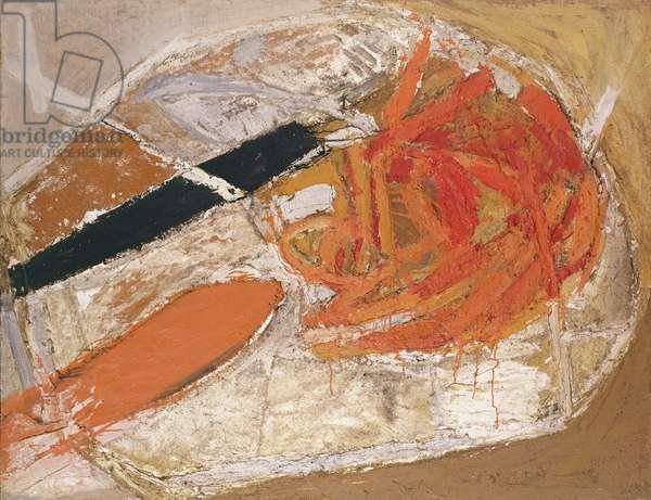 Genesis Archezoic, 1958 (oil & burlap on canvas on board)