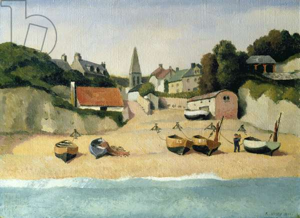 Moored Fishing boats at Beer, 1932 (oil on canvas)