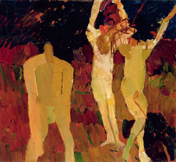 Three Figures on a Red Ground, 1963 (oil on board)