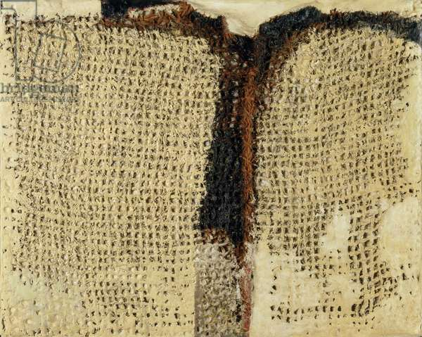 Sacking and Plaster, 1956 (oil, plaster & sacking on hardboard)