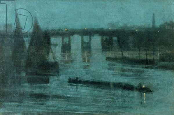 Nocturne, Old Battersea Bridge, 1885 (oil on canvas)