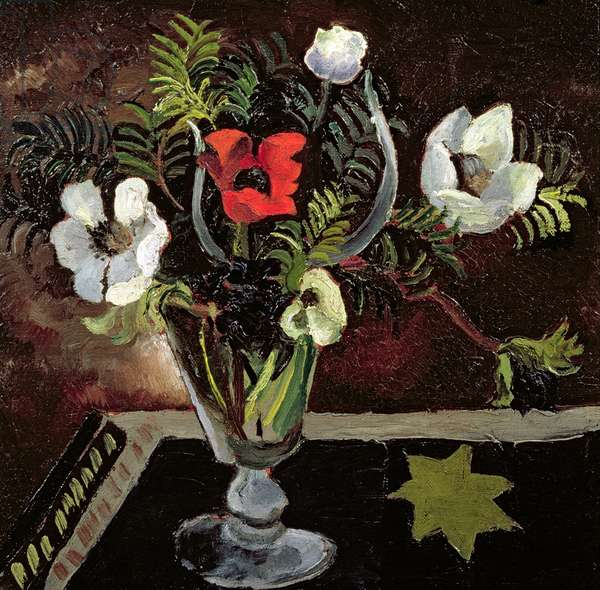 Anemones in a Glass (oil on canvas)